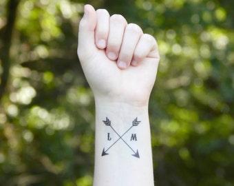 Temporary Tattoo - Arrow Tattoo - Wedding Favor Tattoo - Initial Tattoo - Love Tattoo