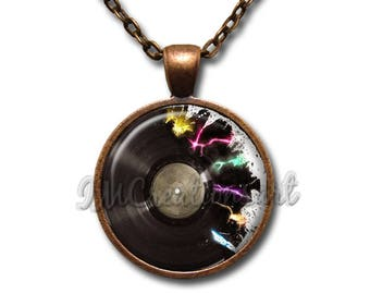 Retro Vinyl Record Scattered Glass Dome Pendant or with Chain Link Necklace PR112