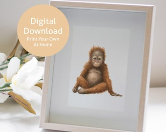 Adorable Orangutan | Nursery Decor | Orangutans | Nursery Prints | Baby Orangutan | Animal Nursery | PRINTABLE | Digital Download