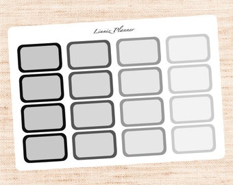 Half Boxes Black and Grey Functional Basics (matte planner stickers, Erin Condren, Happy Planner)
