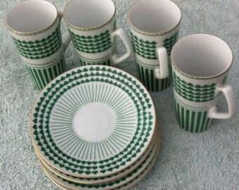 4 Irish coffee demistasse set, cups and saucers, Neiman Marcus