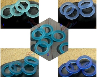 Sea Glass Blue  Ring (27mm) 2pcs Blue Bottle-neck Rings Cultured Sea Glass Beach Glass Pendant Bead