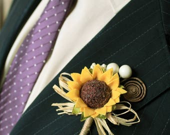 2 Rustic Sunflower Boutonnieres Set Of Groom And Groomsmen Wedding Accessories