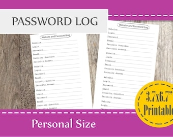 Password Tracker 2018, Password log Personal Size, Filofax Inserts, Personal Planner Page, Planner Printable