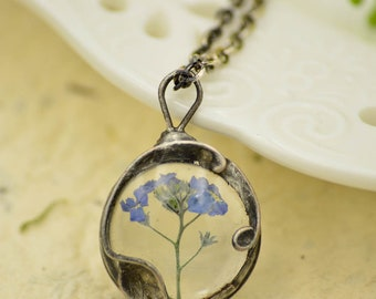 Tiny FORGET-ME-NOT pendant, plant necklace, dried flower, pressed plant, boho necklace, tin soldered jewelry, bridesmade, spring wedding