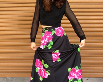 RARE Japanese // Black and Rose // GOTHIC GODDESS // Floral Extra Long high waisted Skirt