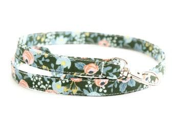 Hunter Green Floral Fabric Lanyard with Swivel Clasp - Long Key Lanyard for Teachers - ID Strap - 15.5-19.5 Inch Drop - Cute Skinny Lanyard