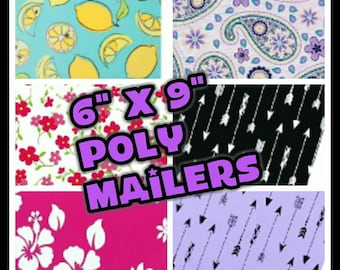Designer Poly Mailers - 6 x 9 Envelopes - Shipping Envelopes - Adhesive Mailer - Water Resistant - Heavy Duty Mailers - Flat Envelope