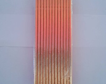 Rose Gold Foil Party Drinking Straws