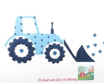 Applied fusible tractor fabric sky blue glitter flex patch iron on fusible tractor motif applique patch stickers