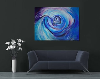 """Picture """"BLUE SPIRAL"""" made in acrylic on paper."""