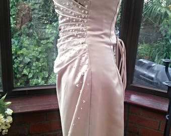 prom special occasion beaded with side pleats bridesmaid ballgown all lined gold satin size uk-10 -usa size-6