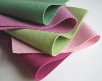Felt Sheets Set, 100% Wool, Rhubarb Color Story, Light Green, Rose Pink, Mulberry, Bottle Green, Baby Pink, DIY Craft Supply, Felt Flowers