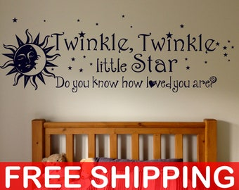 Twinkle Twinkle Little Star do you know how loved you are, Wall Decal, Sticker, Wall decor, Baby Shower, Kids rooms, Children, Nurseries