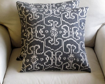 PILLOW COVER bengali gray ikat decorative  18x18 20x20 22x22 24x24 26x26