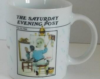 Saturday Evening Post Norman Roackwell Triple Self Portrait coffee mug/cup