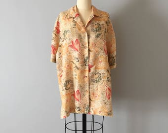 Jack Mulqueen silk oversized blouse | flower tulip and ornament print blouse | silk jacket blouse