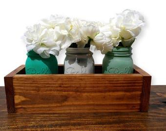 Mason Jar Centerpiece, farmhouse rustic decor, mason jar planter, barn wood box, barnwood planter box, rustic centerpiece box