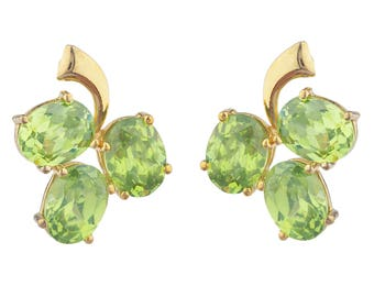 14Kt Yellow Gold Plated Peridot Oval Shape Design Stud Earrings