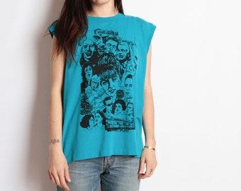 vintage twin PEAKS teal size TANK top t-shirt