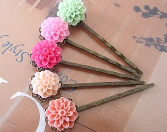 pink pastel dahlia hair bobby pin -min, pink, peach, salmon, hot pink fusia 5pcs