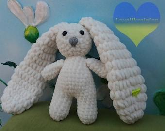 White Bunny Toy, Plush Bunny, Stuffed Knit Bunny, Cute Bunny Toy, Knitted Bunny, Knit Rabbit Toy, Newborn Bunny, Crochet Plush Bunny