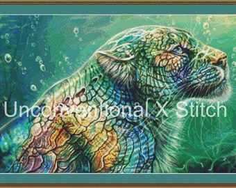 """Big Cat cross stitch pattern - Licensed Maquenda - """" Mother of Pearl """""""