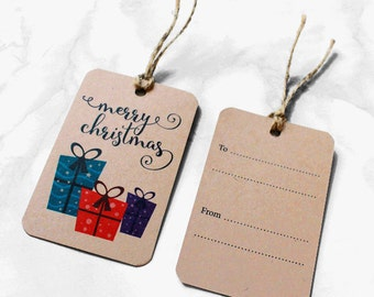 SALE 20% off - Merry Christmas Gift Tags - Pack of 6 - Kraft - Rustic - Twine