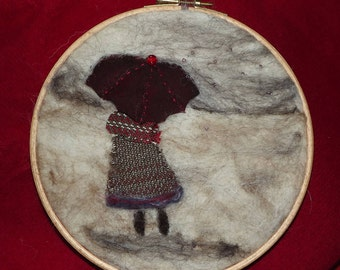 Needle felt and stitched picture in a hoop frame titled  Rainy Day