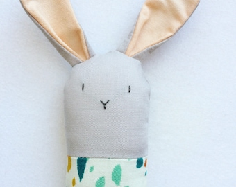 Rainbow Watercolor Bunny Rattle - Soft Baby Toy