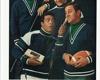 1967 Advertisement Jantzen NFL Sweaters Celebrity Bobby Hull Don Meredith Timmy Brown Dave Marr Sports Stars Pullovers 60's Wall Art Decor