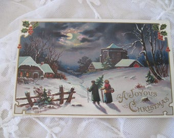Antique Victorian Christmas Postcard Idyllic Rural Scene c1900