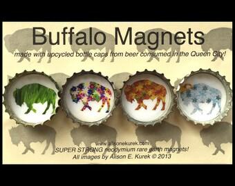 Four Seasons Buffalo Magnets -  Refrigerator Magnets  - Buffalo Art - Bottle Cap Magnets - Buffalo NY - Buffalove - Buffalo Gift