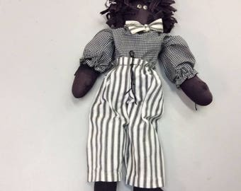 Soft Cloth Doll dressed in Check Top and Striped Pants