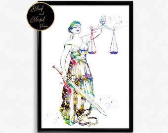 Lady Justice, Watercolor Print ,Scales of Justice Lawyer, Wall Art, Judge Law, Gift, Watercolor, Poster, Room Decor (1341)