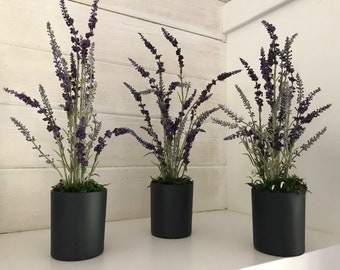 Slate Colored Ceramic Vase with Faux Lavender
