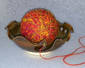 Amber Pottery Yarn Bowl  - Wheel Thrown with Scalloped Edge
