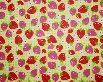 Yellow STRAWBERRY polyester felt for craft  45 x 45cm