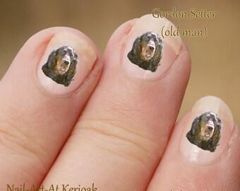 Gordon Setter Nail Art Setter Nail Art Stickers, Gordon Nail Art Stickers, vingernagel Stickers, Gordon Setter portret, stickers,