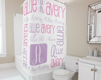 Personalized Shower Curtain Tween Decor Monogram Bath Kids Girls Bathroom Sibling Gift For