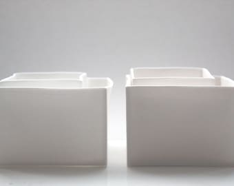 Snow white cube set of 2 made from English fine bone china - geometric decor