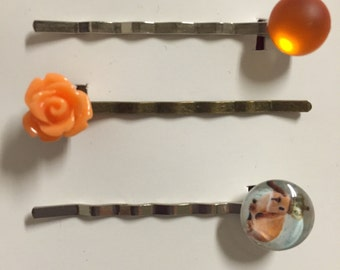 GARDEN inspired hair clips. Whimsical bunny rabbit, tangerine coloured rose and soft orange cabochon hair clips.