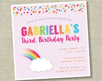 Rainbow invitation, rainbow birthday invitation, rainbow party invitation, rainbow first birthday, over the rainbow invitation,
