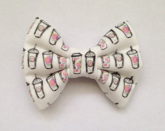The Floral Coffee Cups Handmade Bow (Handmade Bow / Bow Tie / or Headband)
