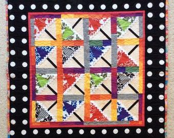 FREE SHIPPING! Beach Umbrella Quilt, fabric art, Quilt art, quilted wall hanging, modern art quilt, quilted wall art