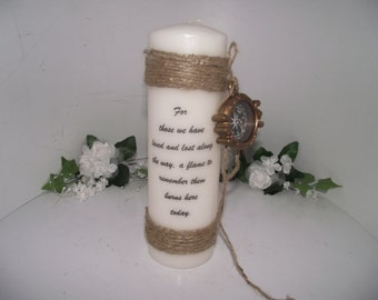 Shabby chic memory candle with a outdoorsman theme for grandpa, dad, uncle, or any loved one