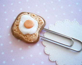 Toast and Egg - Polymer Clay Bookmark - Breakfast Bookmark - Miniature Food - Funny Bookmarks - Unique Gift Idea - Book lover gifts - Fimo