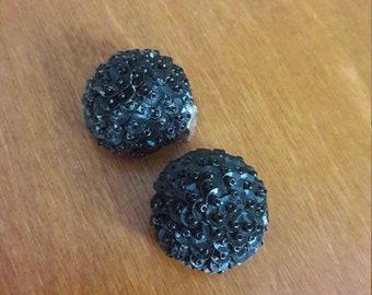 Vintage Black clip-on earrings