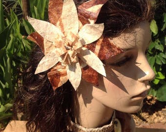 Authentic Tapa Cloth Flower Hair Clip. Polynesian Style.. Perfect For Tahitian Dancers, Costume, Wedding, Luau, Polynesian Party, Gift.