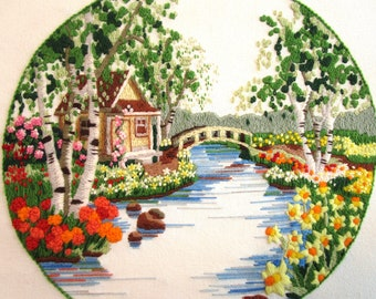 Vintage Framed Crewel Picture Embroidered Handmade English Garden Cottage Country Scene 1985 Flowers Bridge Sunset Kit 18x18 Picture Wood